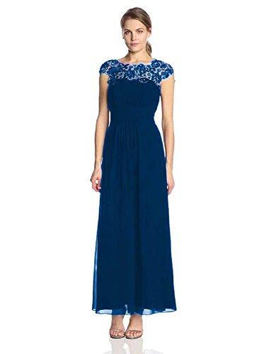 Beauty-Cal-Abendkleider Emily Maxi lang, mit Spitze Blau - Navy