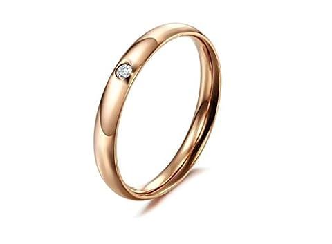 amdxd Jewelry Damen-Verlobungsring Edelstahl Ringe Rose Gold Ein glänzend cz eingelegten Größe P 1/2