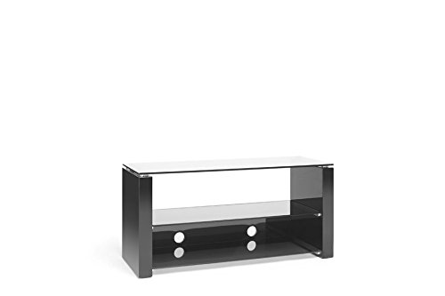 "Techlink Bench - Designer Stand For LCD & Plasma TV Up To 50"" or 50kg - Black Gloss Finish with Smoked Glass"