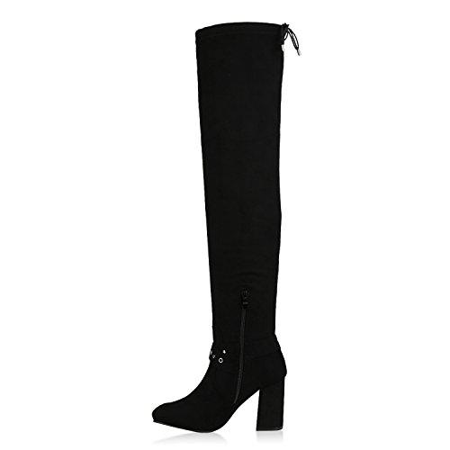 Stiefelparadies Damen Overknees Stiefel Veloursleder-Optik Schuhe Langschaftstiefel High Heels Boots Karneval Fasching Kostüm Polizistin Flandell Schwarz Nieten