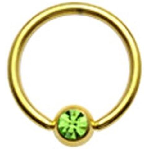 Gekko Body Jewellery Placcato Oro Captive Bead anello (CBR) con zircone verde Gem–14Gauge (1,6mm) X 12mm - Captive Ring 12 Gauge