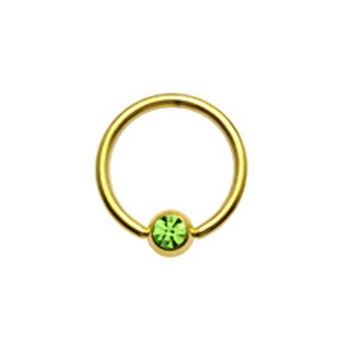 Gekko Body Jewellery Placcato Oro Captive Bead anello (CBR) con zircone verde Gem - 14 Gauge (1,6 mm) X 12 mm - Captive Ring 12 Gauge