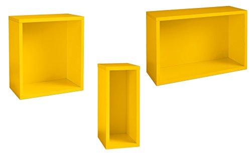 Regal Hängeregal Wandregal Bücherregal Gelb 3er Set Cube