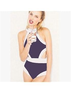 Conjuntos de Bikini Sexy Adelgazar de una Pieza de Traje de Baño Trajes de Baño Trajes de Baño Moda-Black-and...
