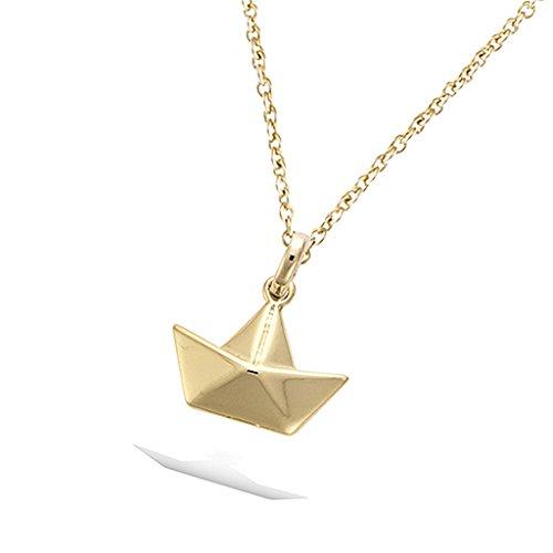 Tata Gisele© Anhänger, vergoldet-Boot Style Origami Falz-Geschenkbeutel Velours inkl. (Origami Boot)