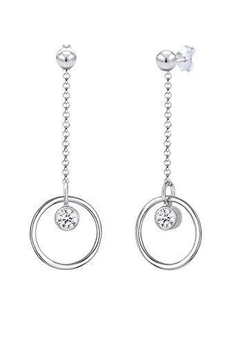 Elli Damen Ohrringe Silber Kreis Geo Solitär Swarovski Kristalle 0310812017 (Geo-kreis)