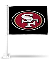 San Francisco 49ers CAR Flag White Pole Black Flag Two Sided by Rico