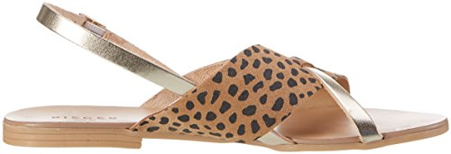 PIECES Psjoyce Leather Leopard, Sandali con Zeppa Donna Oro (Gold Colour)