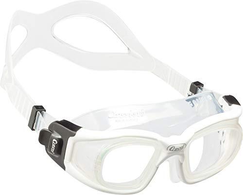 Cressi Swim Galileo Goggles Schwimmbrille Mit Gehärtetem Glas, Transparent/Weiß, Uni