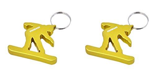 munkees 2 x Schlüsselanhänger Snowboard-Figur Flaschenöffner Sport-Fans, Doppelpack Gelb, 34952