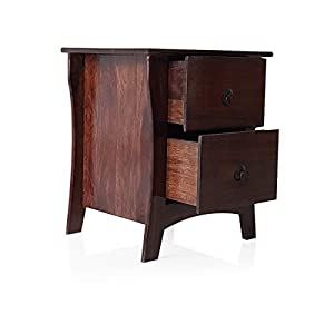 DecorNationSheesham Engineered Wood End Table Night Stand Side Table with 2 Drawers for Bedroom Living Room - Brown
