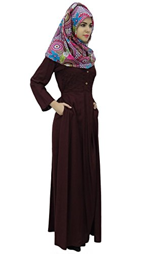 Bimba manches longues abayas islamic robe maxi jilbab plissé avec hijab Marron