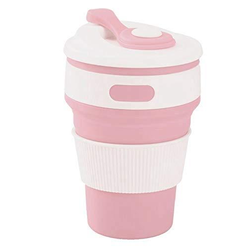 LIWEIL Faltbare Tasse Silikon Reisebecher Auslaufsicher Kaffee Gefaltet Tasse Geschenk Becher 350ml Outdoor Camping Wandern Rosa