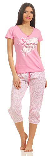 Rosa Baumwoll-shorty-pyjama (Damen Shorty Schlafanzug Gr. 40/42/M, rosa mit Caprihose billig kurzarm kurzer arm pyjama frau Frauen kamen dame kurzer schlafanzug damen schwarz kurzer schlafanzug damen luftiger sommerlicher pyjama)