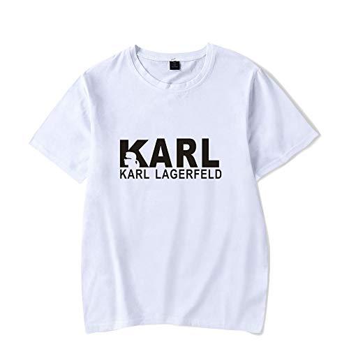 INSTO T-Shirt Mode Karl Lagerfeld Drucken Kurze Ärmel T-Stück Beiläufig Lose Trikot Unisex/Weiß/XS