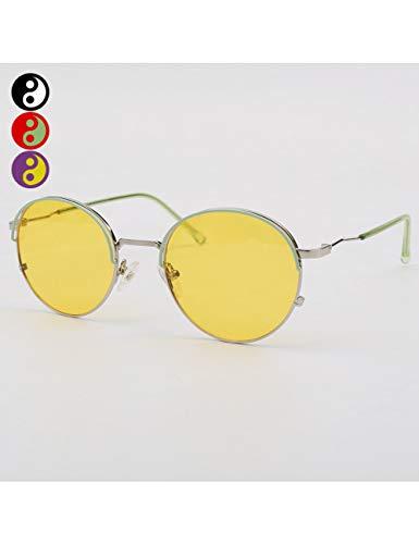 MOMOQU Sun Glasses Halb Gerahmte Runde Sonnenbrille, Helle, Mehrjährige Sonnenbrille, Großes Männergesicht, Farbe Deep Khaki