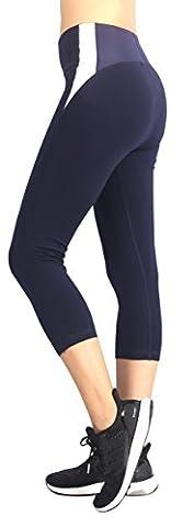Neonysweets Womens Workout Pants Active GYM Yoga Pants Capri Leggings Navy Blue XL