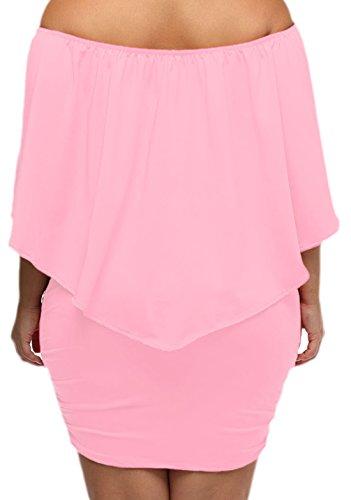 erdbeerloft - Damen Plus Size Schulterfreies Volant Midikleid, L-2XL, Viele Farben Rosa