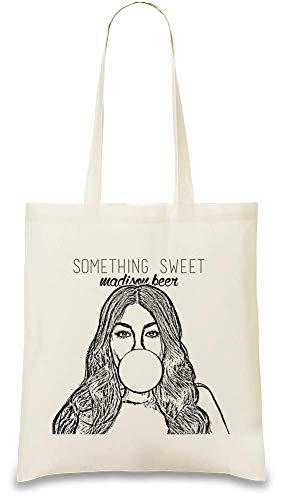Madison Beer Etwas Süßes Something Sweet Custom Printed Tote Bag| 100% Soft Cotton| Natural Color & Eco-Friendly| Unique, Re-Usable & Stylish Handbag For Every Day Use| Custom Shoulder - Madison Tote