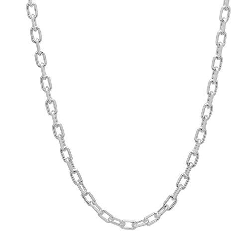 3mm, lucido, argento sterling 925Draw Cavo piatto catena collana, argento, colore: argento, cod.