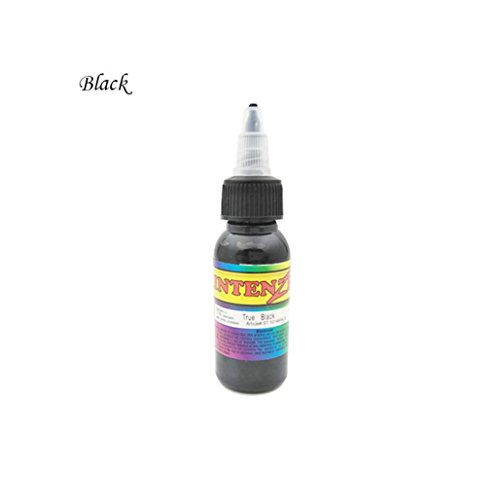 Körper Tattoofarbe,Jaminy 30ml Professionelle Tattoo Ink 7 Farben Set 1oz 30ml / Flasche Tattoo Pigment Kit Tätowierfarbe, Tattoo Ink (Schwarz)