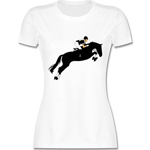 Reitsport - Springreiten Springreiten - tailliertes Premium T-Shirt mit Rundhalsausschnitt für Damen Weiß