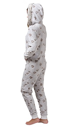 Extrem kuscheliger Damen Fleece-Onesie, Jumpsuit mit Fell in Beige - 4