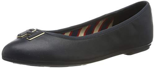 Tommy Hilfiger Essential Leather Ballerina, Zapatos de Tacón para Mujer, Midnight 403, 36 EU