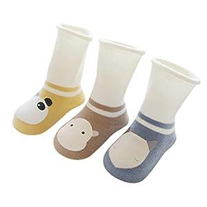 DEBAIJIA 3 Pares de Calcetines de Bebé Unisex Suave Elástico Calcetines Algodón Cálido Lindo Colorido Respirable… 10