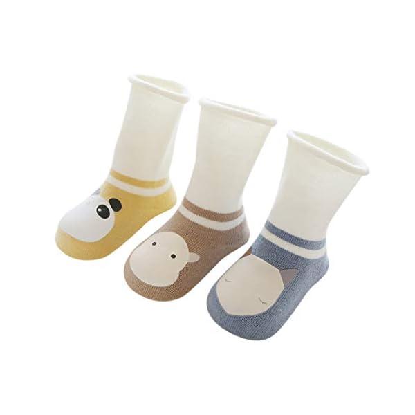 DEBAIJIA 3 Pares de Calcetines de Bebé Unisex Suave Elástico Calcetines Algodón Cálido Lindo Colorido Respirable… 1