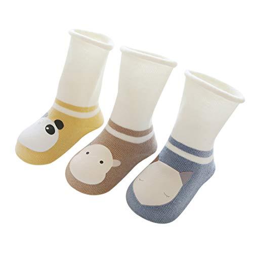 DEBAIJIA 3 Pares de Calcetines para Bebés Unisex Suave Elástico Calcetines Algodón Cálido Lindo...