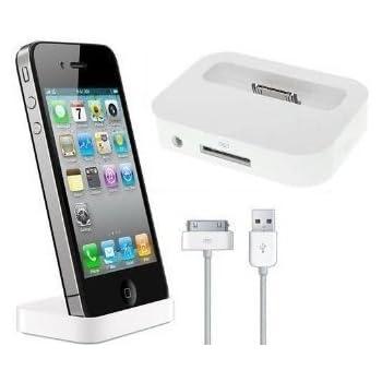 itronik® Dockingstation Ladestation Dock Docking mit Line-Out weiss white  für Apple iPhone 4 4S inkl. USB-Datenkabel - Station passt auch für iPhone  ...
