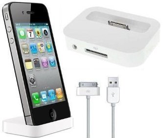 itronik® Dockingstation Ladestation Dock Docking mit Line-Out weiss white für Apple iPhone 4 4S inkl. USB-Datenkabel - Station passt auch für iPhone mit Bumper Iphone 2g Dock