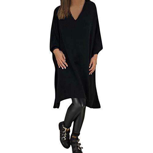 (Damen V-Ausschnitt Lange Cotton Kleid Langarm Kleiden Sexy Knielang Kleider Kingwo (Schwarz,L3))