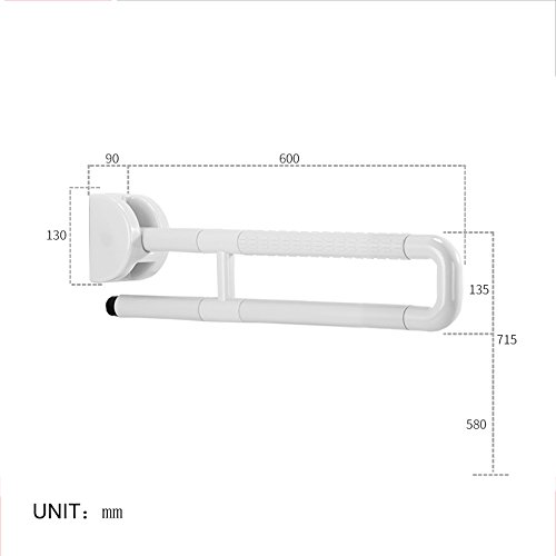 Elderly handrails QFF en Nylon antidérapant en Acier Inoxydable 304 de Salle de Bain Accoudoir en Forme de U antidérapant Pliable de Salle de Bain WC Main Courante (60 cm/75 cm), Blanc, 60 cm