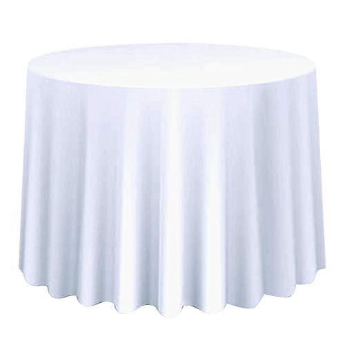 1 Stück Runde Stoff Tischdecke Einfarbig Große Tischabdeckung Decor Hochzeitsbankett Restaurant Party Tischdecke(230cm-Weiß) (Tischdecke Runde Party)