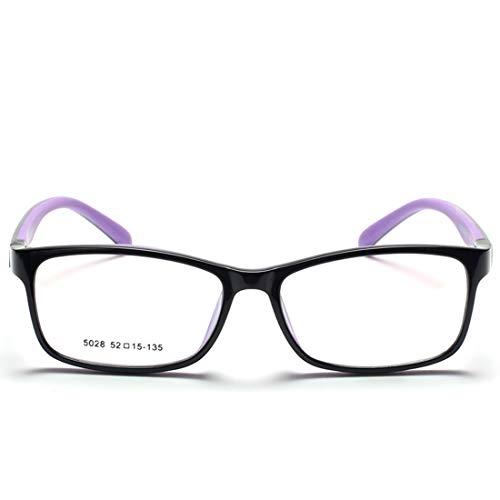 Sixminyo Kinder weichen Silikon Brillengestell Nicht verschreibungspflichtige Brillen für Frauen, Männer (Color : Purple)