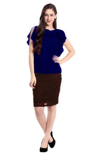 Laxminarayan Feb Women's Georgette Top (Blue_Medium)