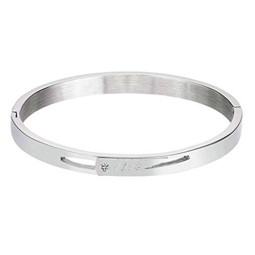 Bishiling Modeschmuck Edelstahl Armband für Frauen Mädchen Zirkonia mit Gravur