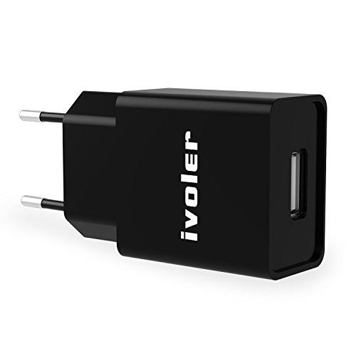 iVoler Mini Cargador (5W/1A) y Carga Datos Cable USB (1m) para iPhone X/8/8 Plus/7/7 Plus/6/6 Plus/6s/6s Plus/5s/5c/5/ SE,iPad Air1/2,iPad Pro,iPad mini/2/3/4,iPad 4,iPod - (Negro)
