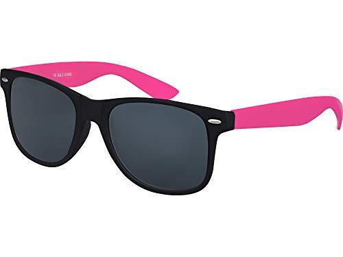 Balinco Hochwertige Nerd Sonnenbrille Rubber im Wayfarer Stil Retro Vintage Unisex Brille mit Federscharnier - 96 verschiedene Farben/Modelle wählbar (Pink/Schwarz - Smoke)