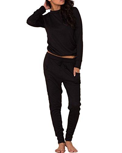 Glamour Babe - Ensemble de pyjama - Manches Longues - Femme Noir - Noir