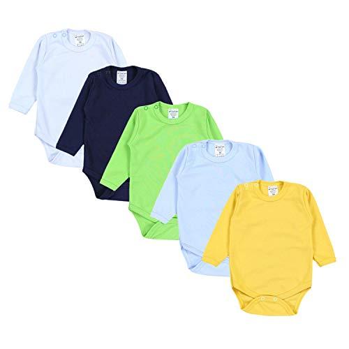 TupTam Jungen Baby Body Langarm Unifarben 5er Pack, Farbe: Farbenmix 1, Größe: 86