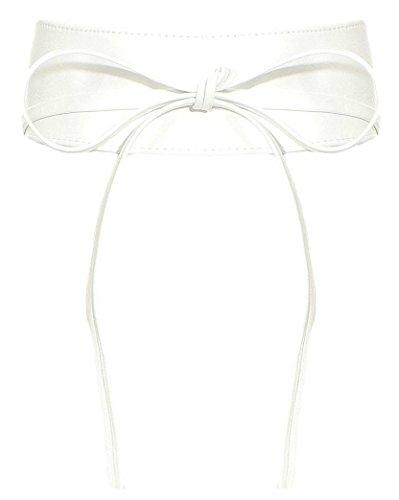 malito Damen Taillengürtel   Echtleder Bindegürtel   breiter Wickelgürtel - Ledergürtel - Hüftgürtel G100 (weiß) - Gürtel Kimono Obi
