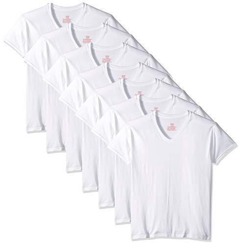 Hanes Ultimate Herren 7 Classics V-Neck Tee Bonus Pack - Weiß - Medium (V-ausschnitt Hanes Unterhemd)