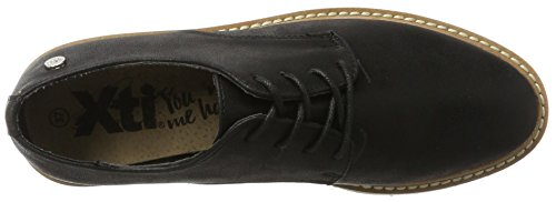 XTI Damen Black Metallic Ladies Shoes Derbys Schwarz (Black)