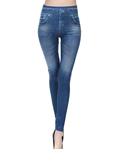 GladiolusA Mujer Elásticos Leggings Leggins Push Up Cintura Alta Jeggings Pantalones Vaqueros Jeans Skinny Azul XL