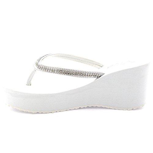 Damen Zehenriemen Diamant Flip Flop Plattform Sommer Keilabsatz Sandale Weiß