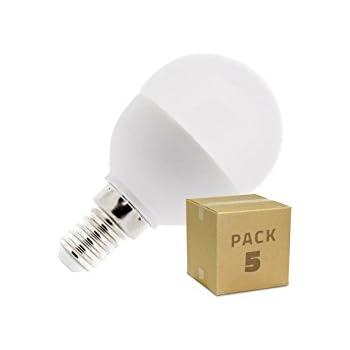 Pack 5 Bombillas LED E14 G45 5W Blanco Neutro 4000k-4500K efectoLED