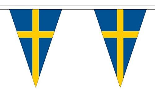 5 metres 12 (30,5 x 20,3 cm) Suède suédois Triangle triangulaire fanions Drapeau 100% polyester Matériau Décoration de fête Idéal pour Street House Pubs clubs école WelshSuperstore